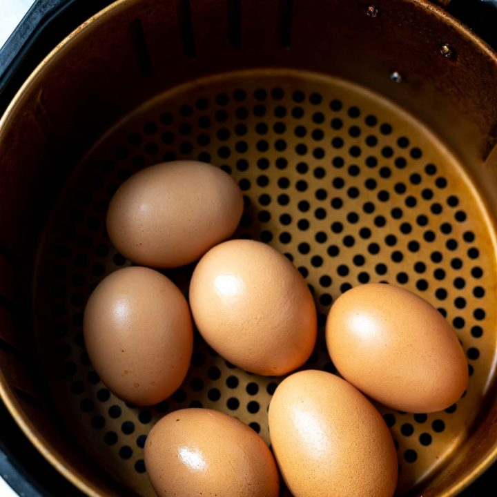 brown eggs in air fryer basket