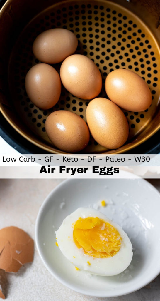 air fryer eggs recipe photo collage