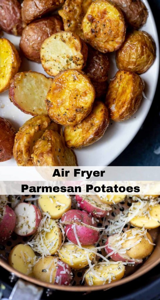air fryer parmesan potatoes recipe photo collage