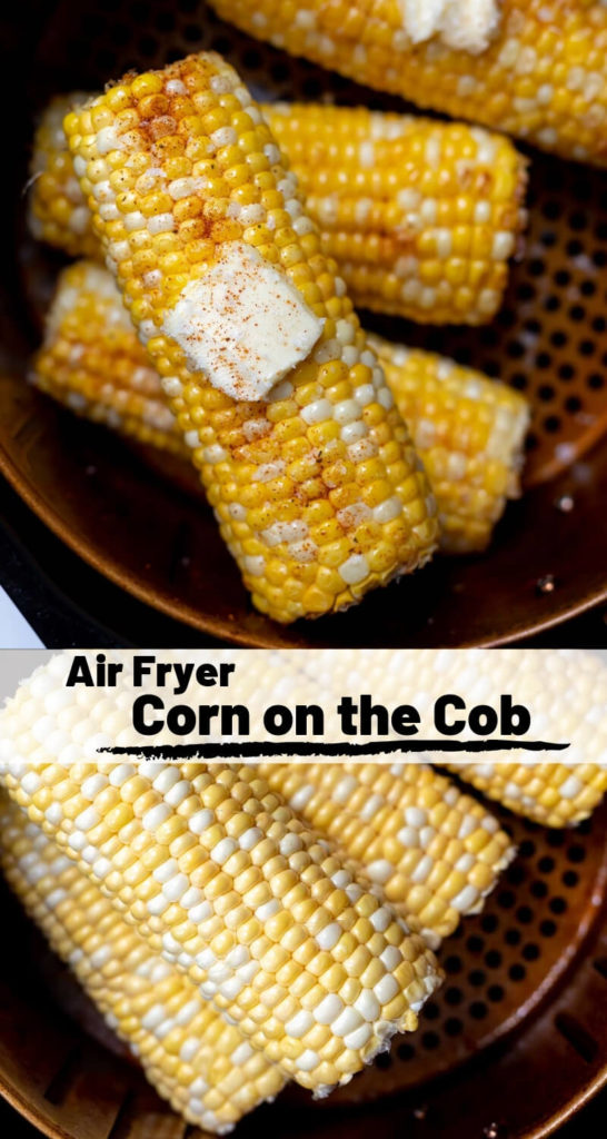 air fryer corn on the cob recipe photo collage