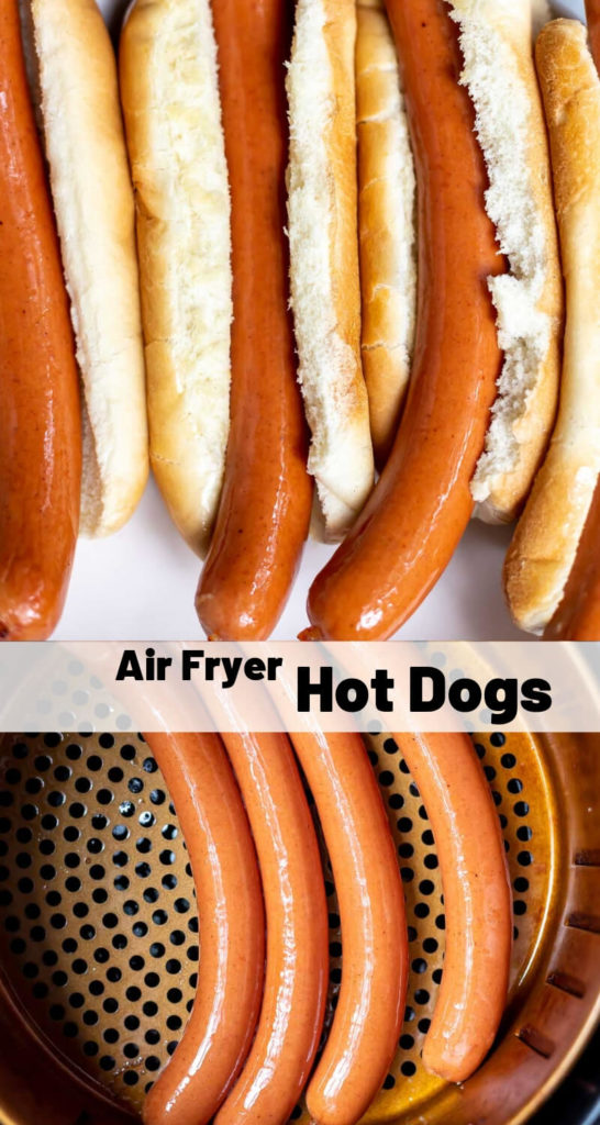 air fryer hot dogs recipe photo collage