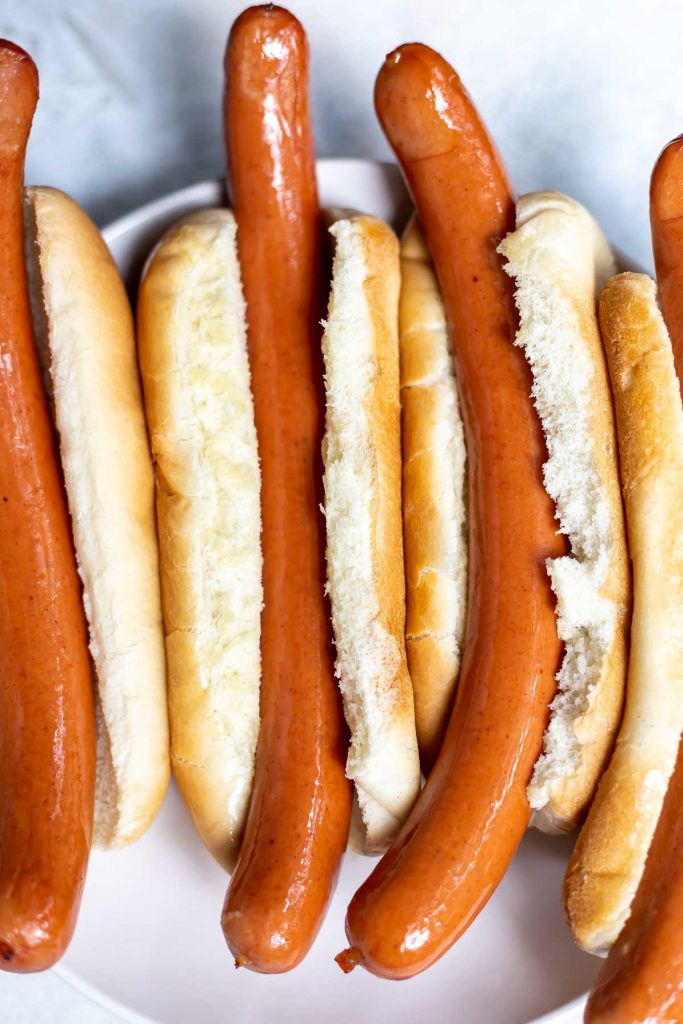 air fried hot dogs in buns