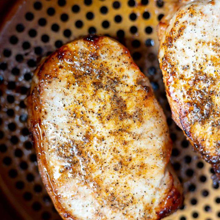 thick pork chop in air fryer basket
