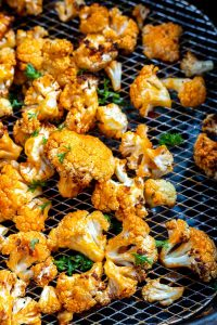 buffalo cauliflower in air fryer basket