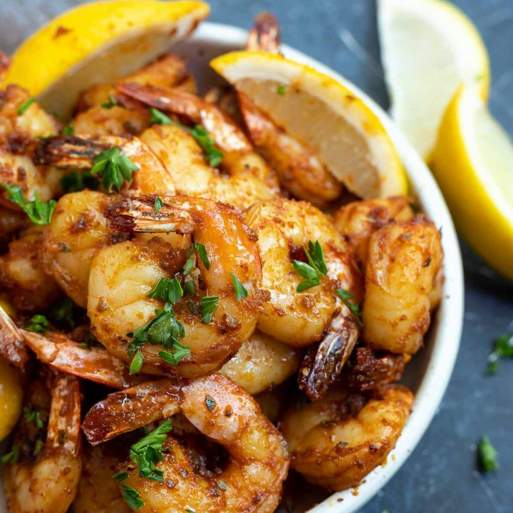 air fried cajun shrimp served in white bowl
