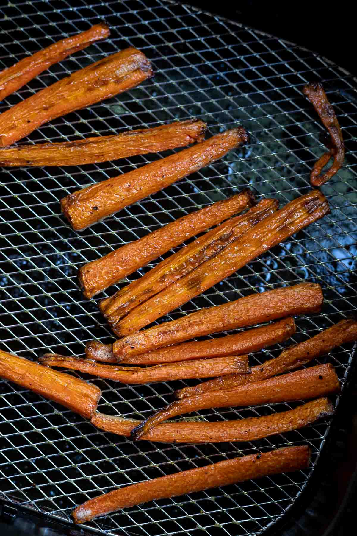 air fried carrot fries in air fryer basket