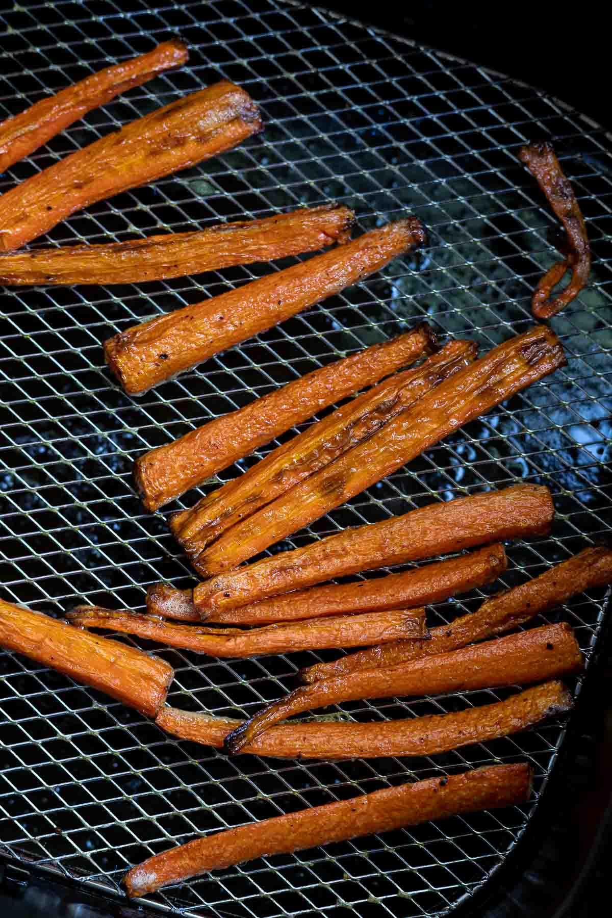 air fried carrot fries in air fryer basket