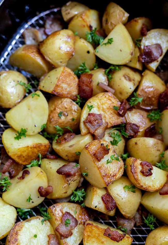 air fried potatoes and bacon in basket