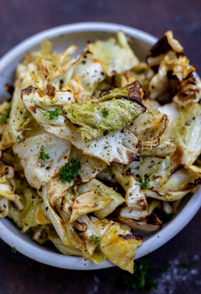 white bowl filled with air fried cabbage