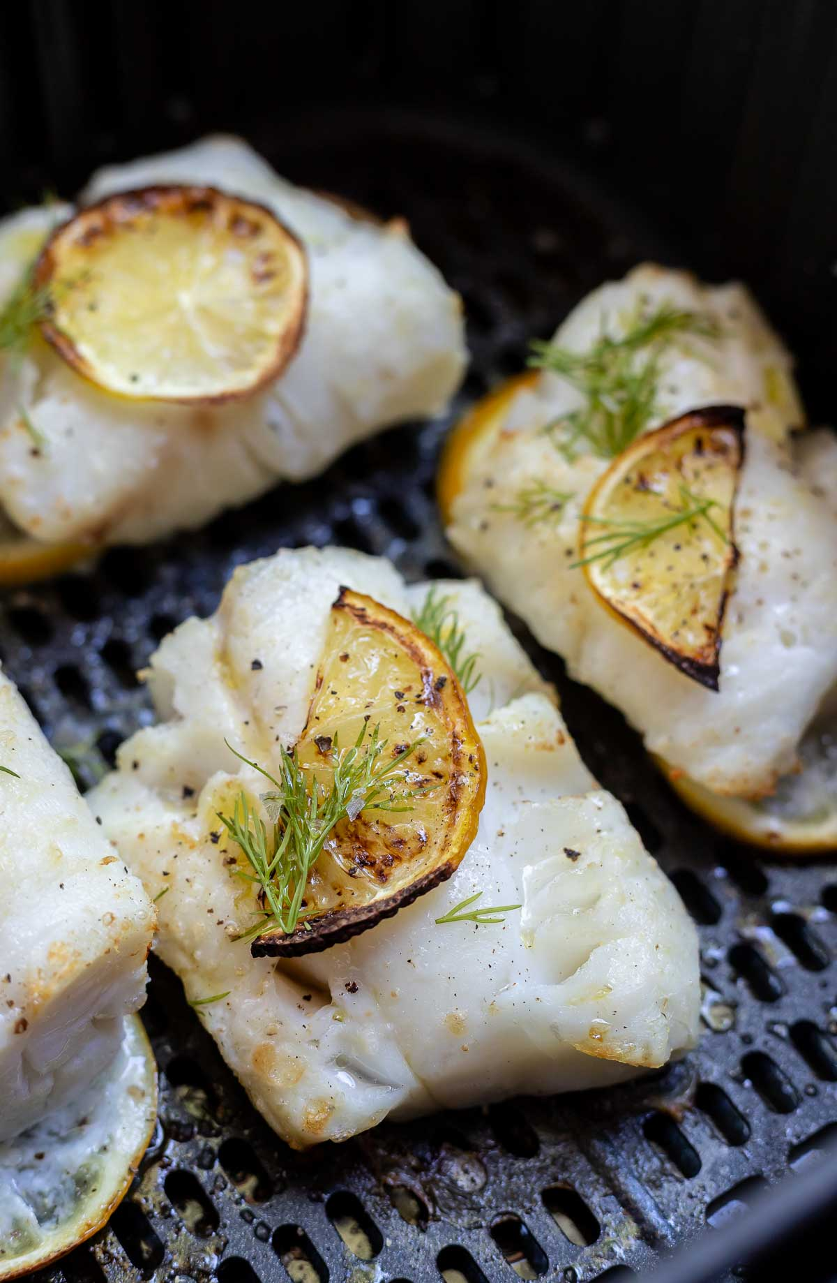 lemon dill cod in air fryer basket