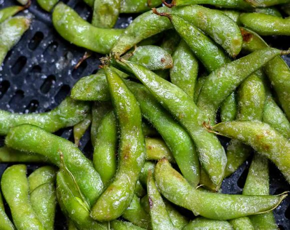 cooked edamame in air fryer basket