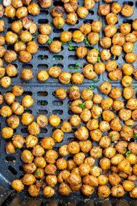 roasted chickpeas in air fryer basket