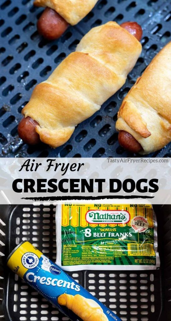 air fryer crescent hot dogs photo collage