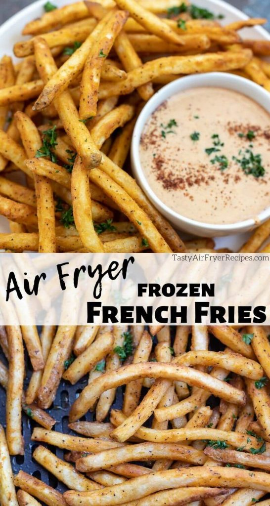 air fryer frozen French fries photo collage