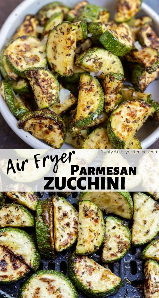 parmesan zucchini in air fryer photo collage