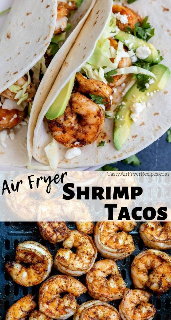 air fryer shrimp taco pinnable photo collage with recipe title text