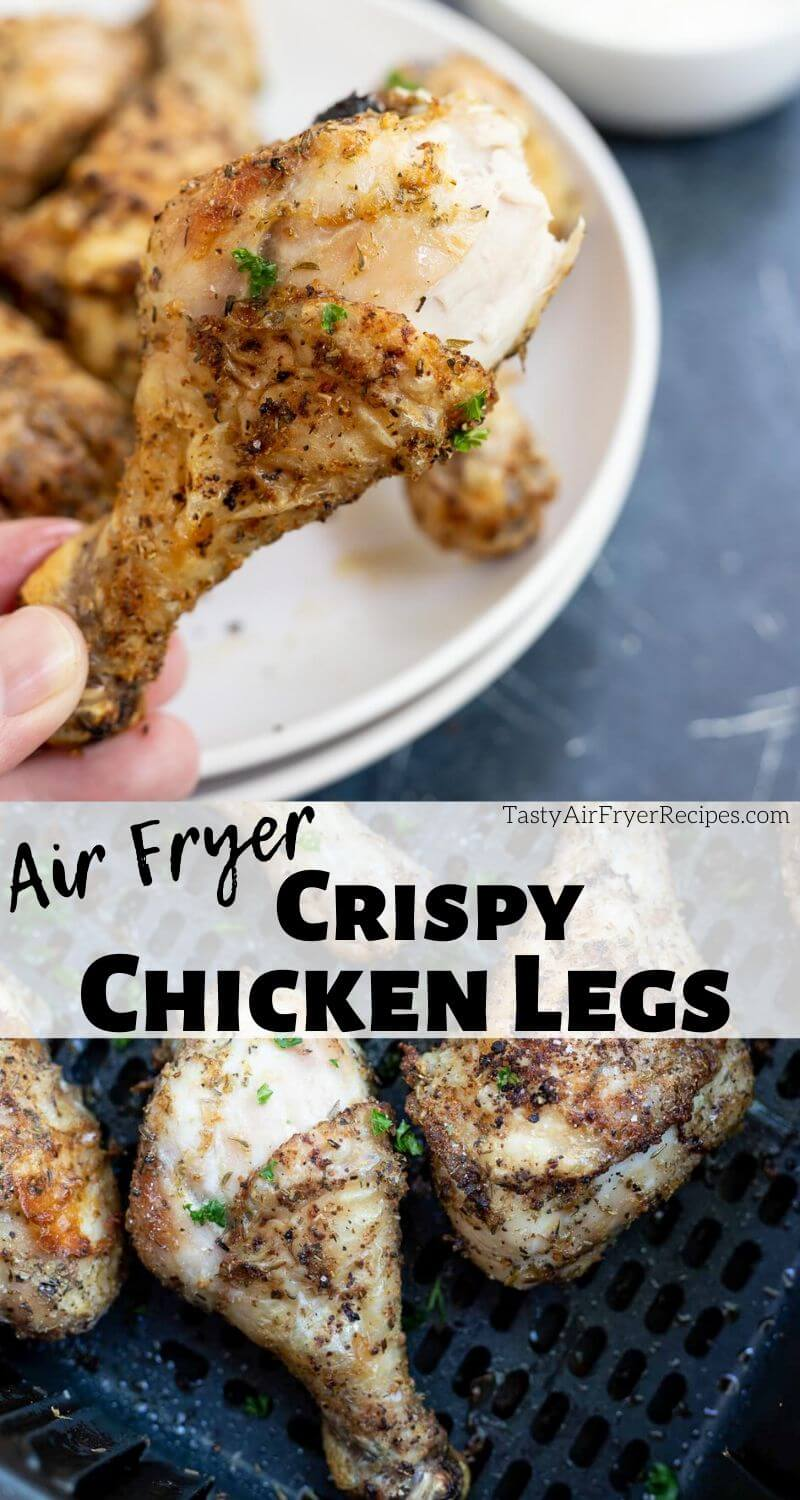 Air Fryer Chicken Legs pinnable photo collage with recipe title text