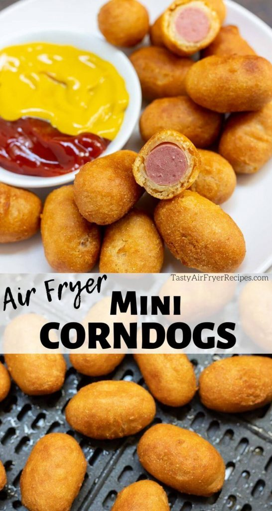 air fryer mini corndogs pinnable photo collage with recipe title text