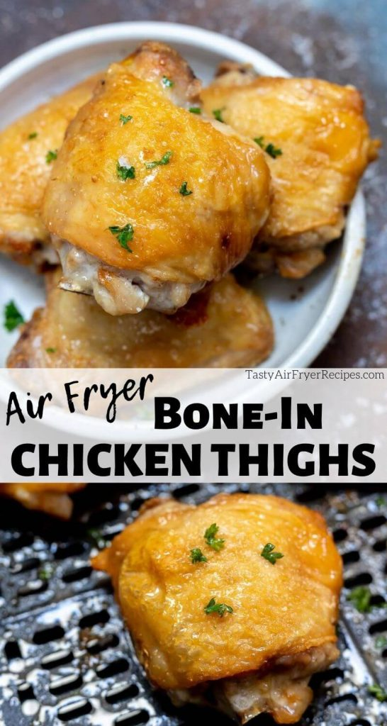 air fryer bone in chicken thighs pinnable photo collage with recipe title text