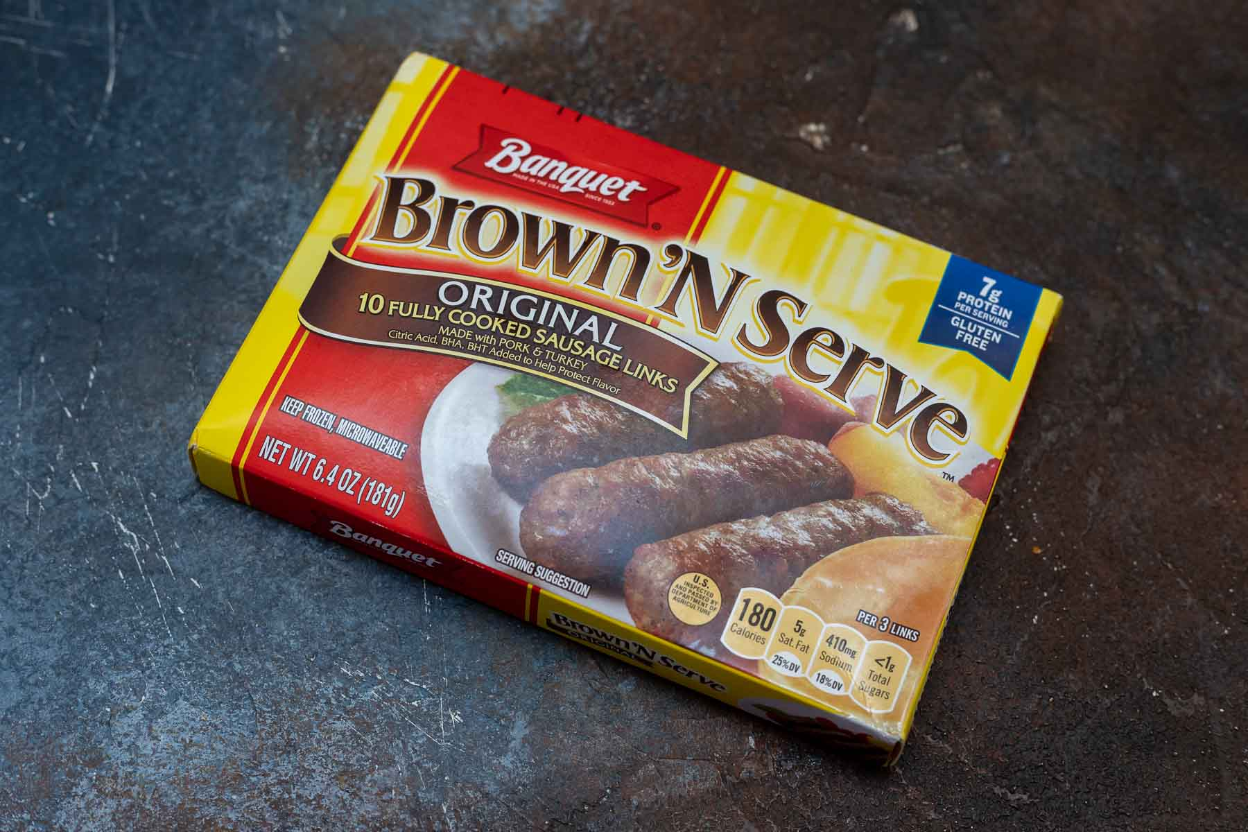 package of frozen brown and serve breakfast sausage