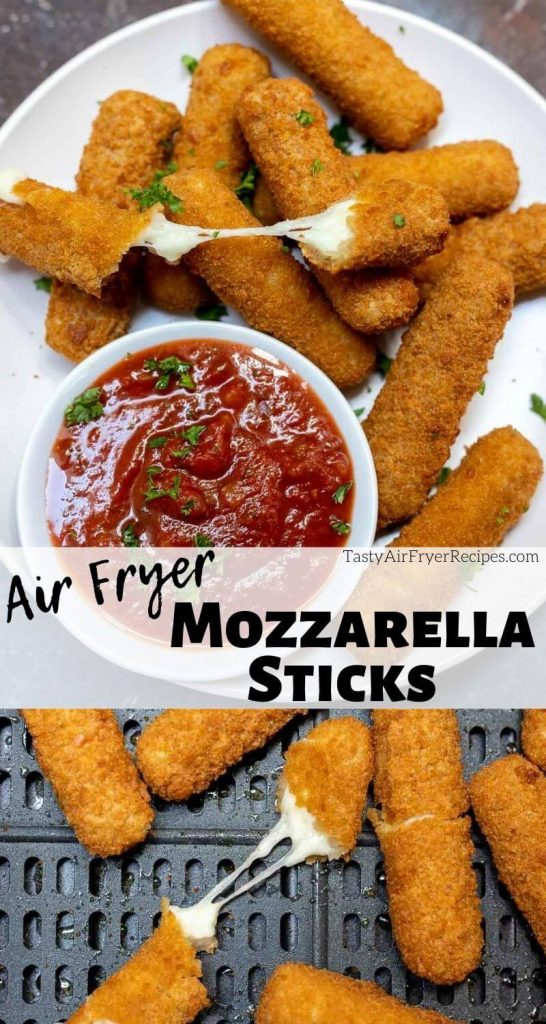 Air Fryer Mozzarella Sticks pinnable photo collage with recipe title text