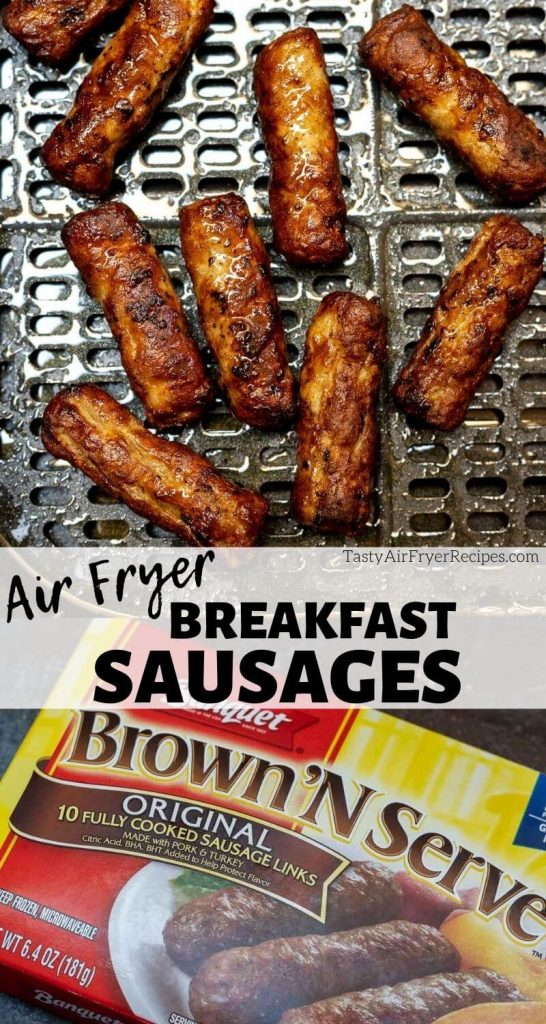 air fryer breakfast sausage links pinnable photo collage with recipe title text
