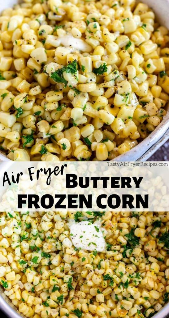 air fryer buttered corn pinnable photo collage with recipe title text