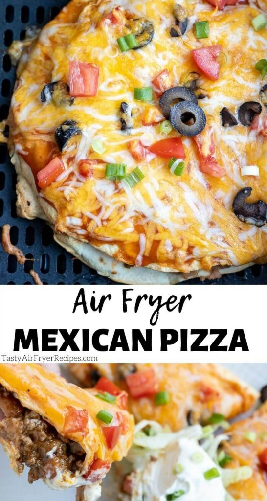 air fryer Mexican pizza pinnable image with text