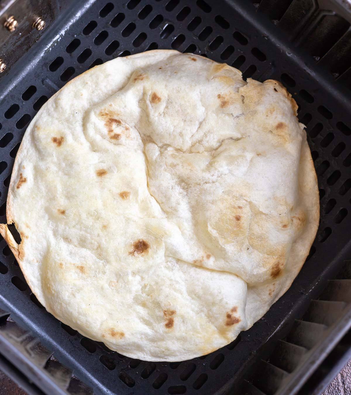flour tortilla in air fryer basket