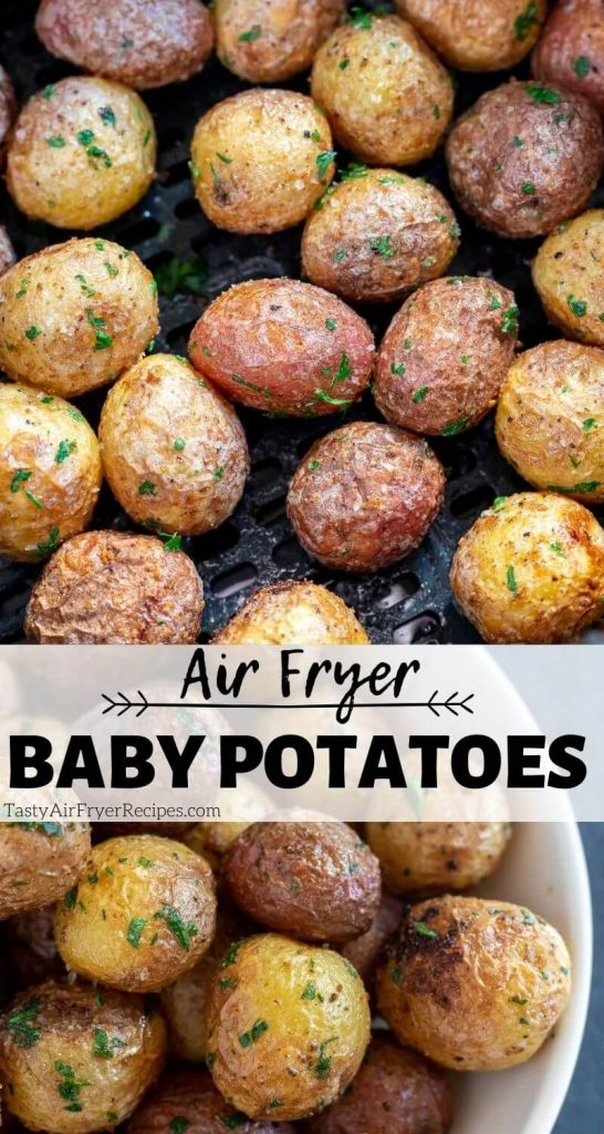 air fryer potatoes pinnable image with title text