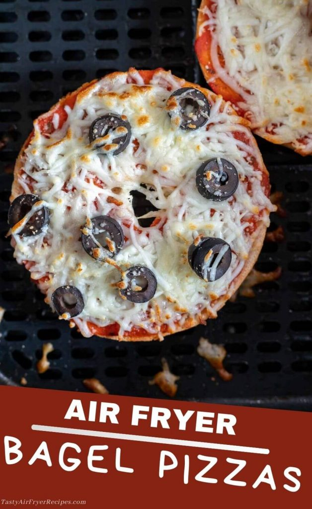 air fryer bagel pizzas pinnable image with title text