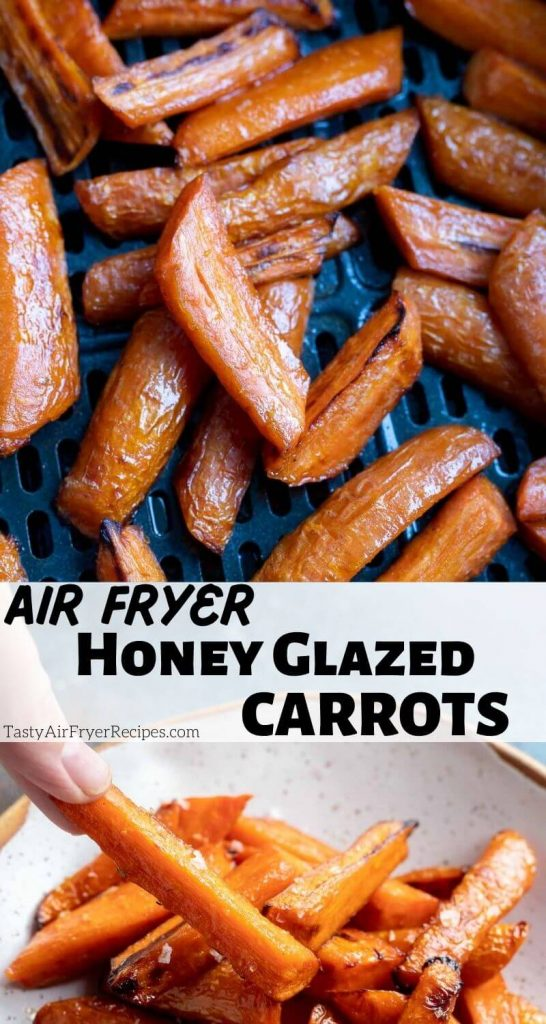 air fryer honey roasted carrots pinnable image with title text