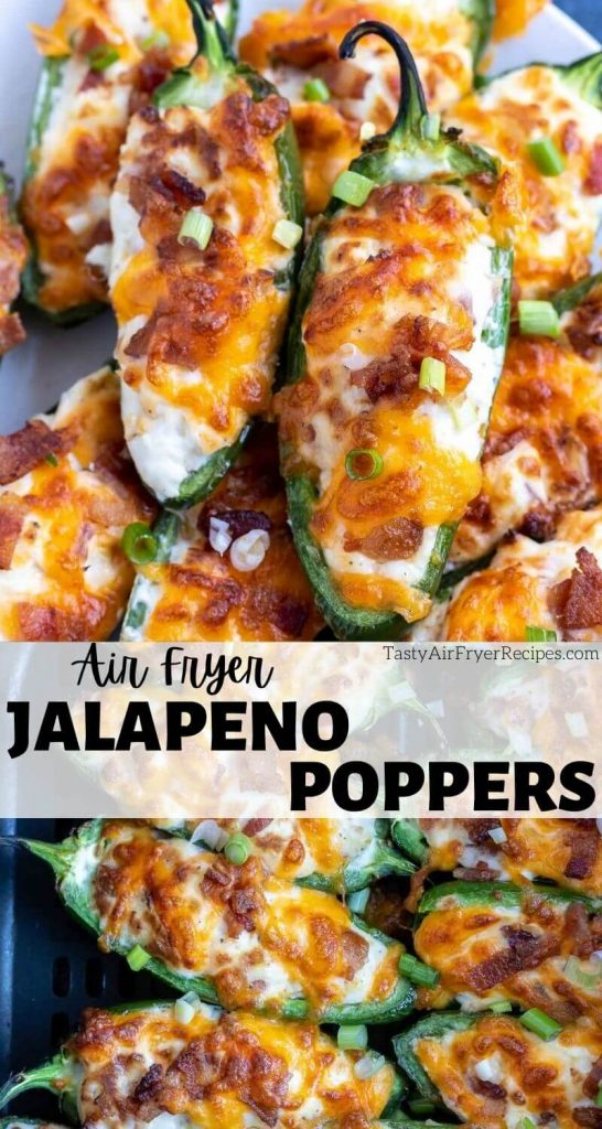 air fryer jalapeno popper recipe pinnable image with title text