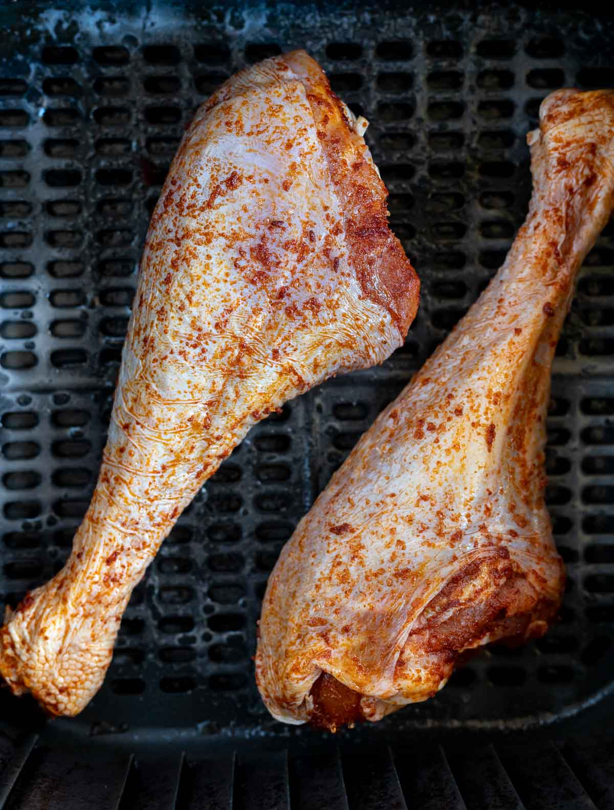 raw turkey legs in air fryer basket