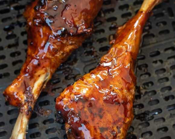 sticky glazed turkey legs in air fryer basket