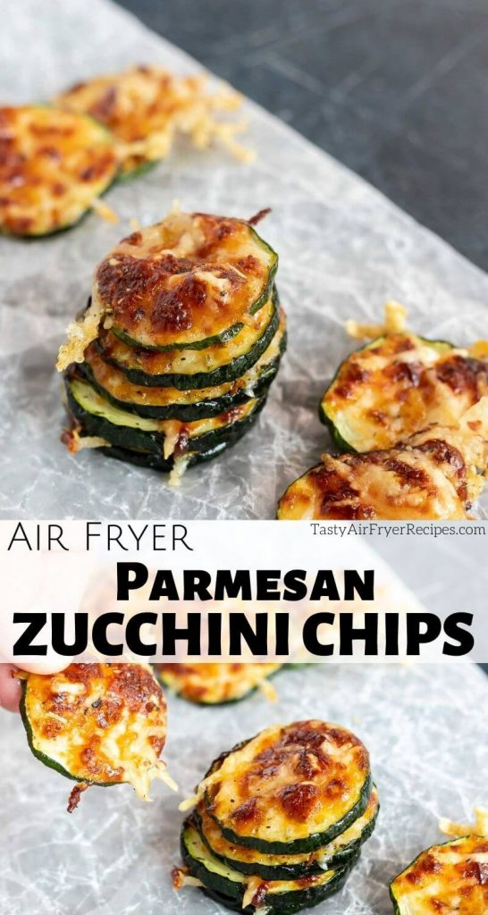parmesan zucchini chips air fryer pinnable image with title text