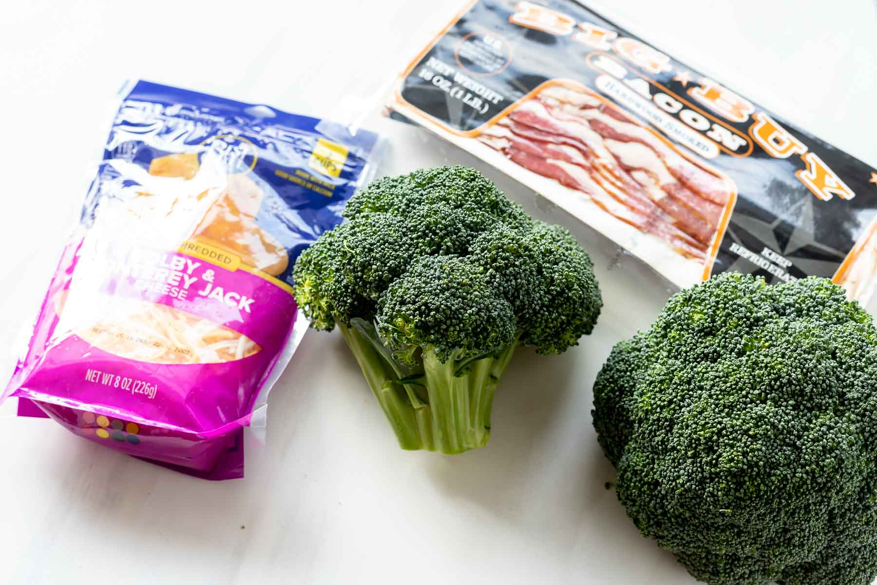 ingredients for cheesy bacon broccoli