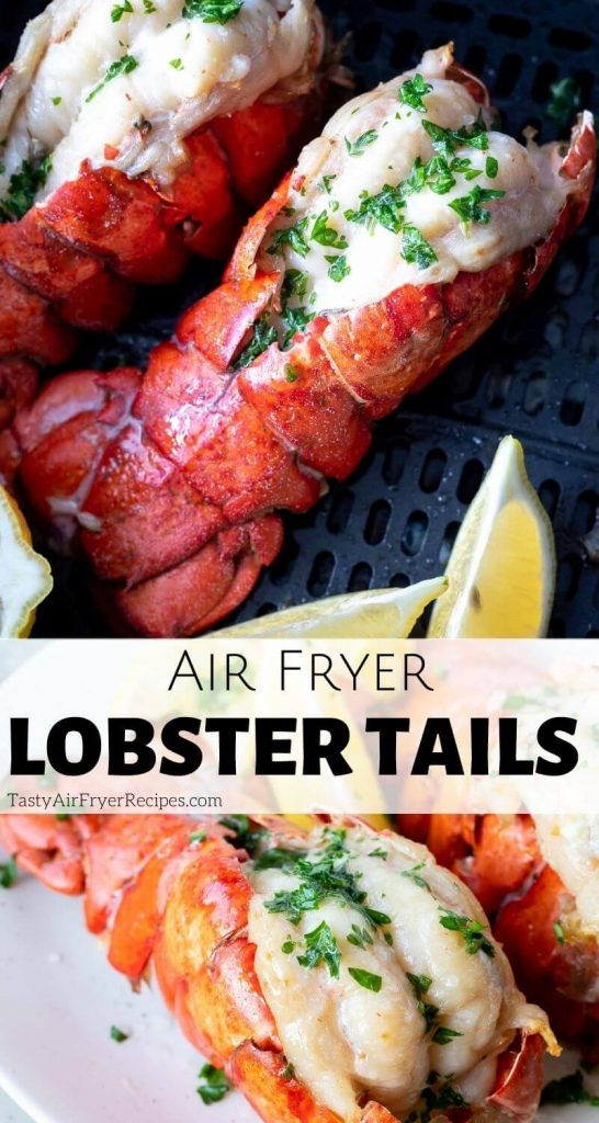 air fryer lobster tail pinnable image with title text