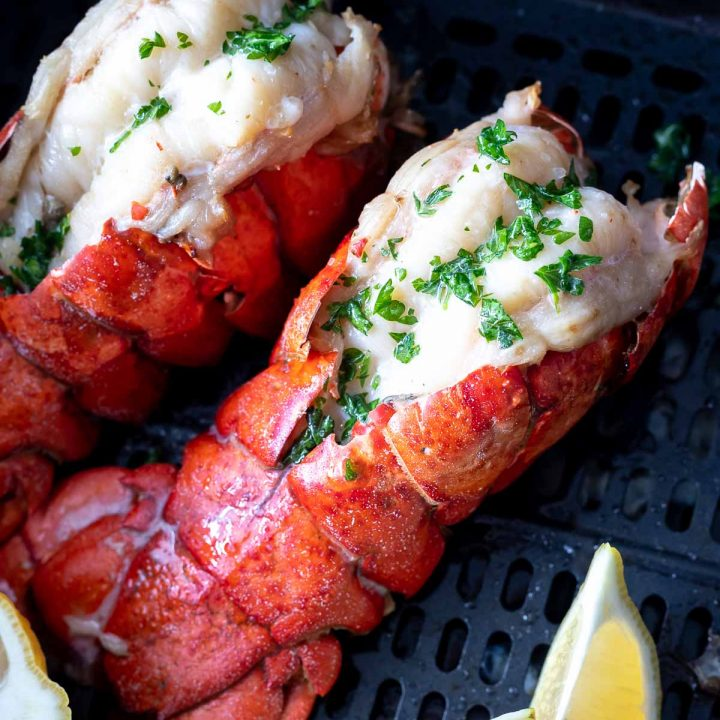 cooked lobster tails in air fryer basket