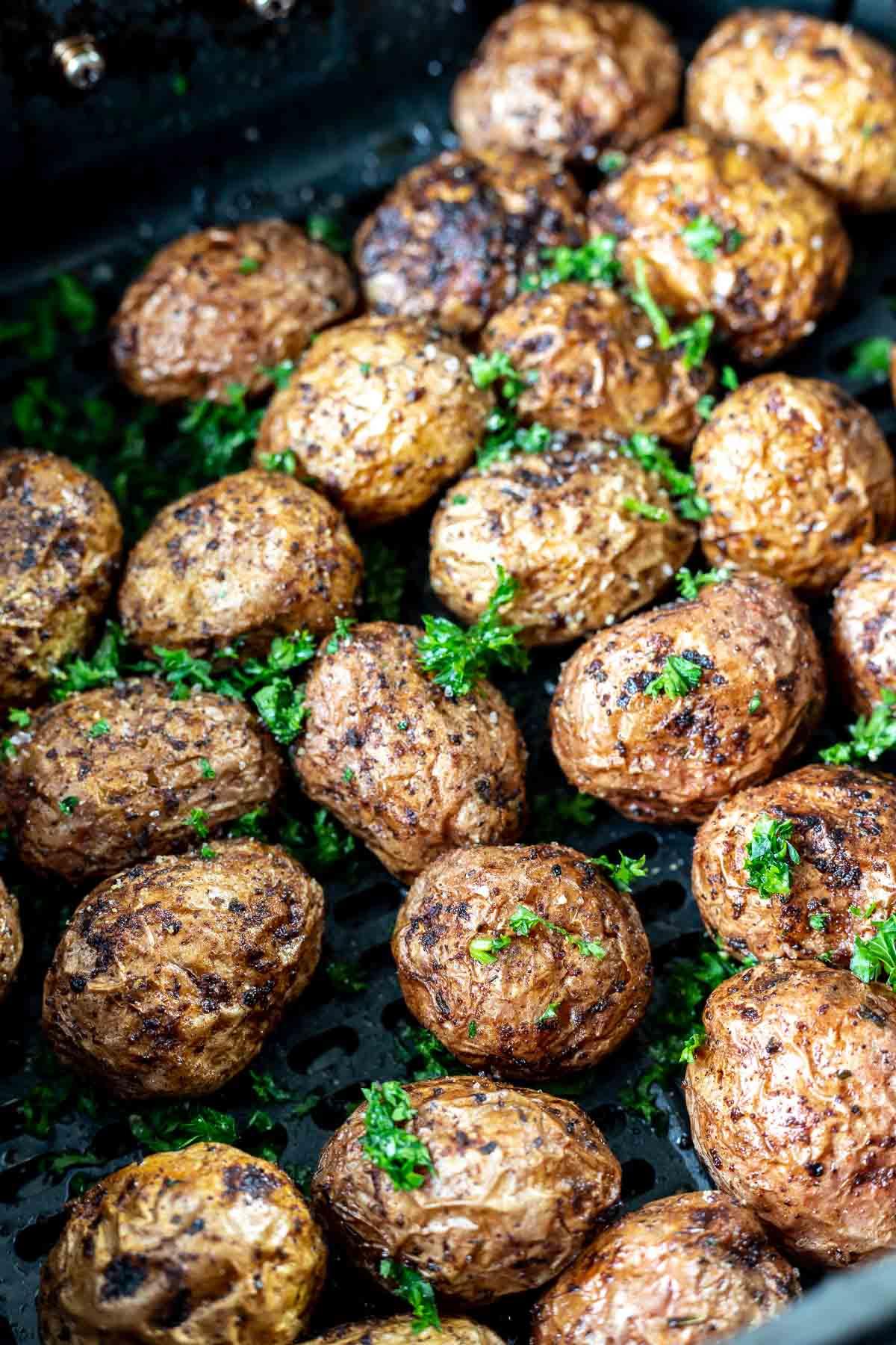 roasted potatoes in air fryer basket