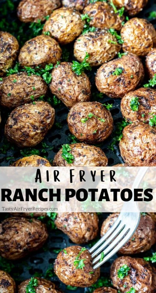ranch roasted potatoes in air fryer pinnable image with title text