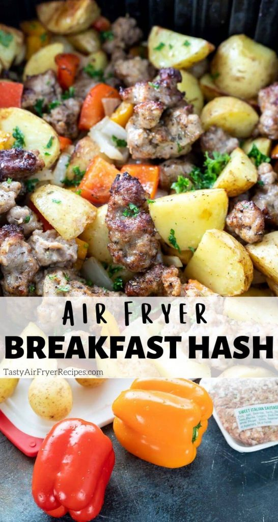 sausage potato hash breakfast recipe pin with title text