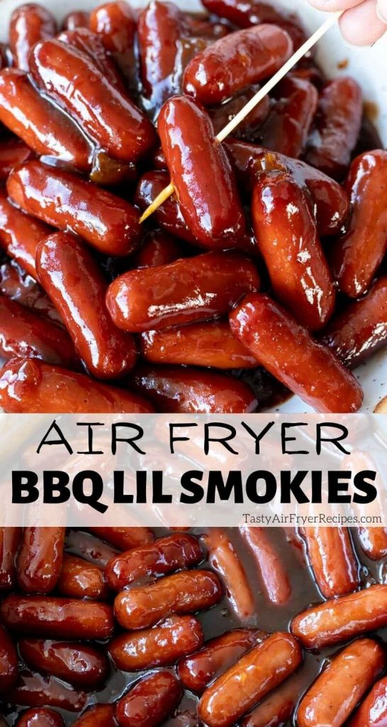 air fryer bbq little smokies recipe pinnable image with title text