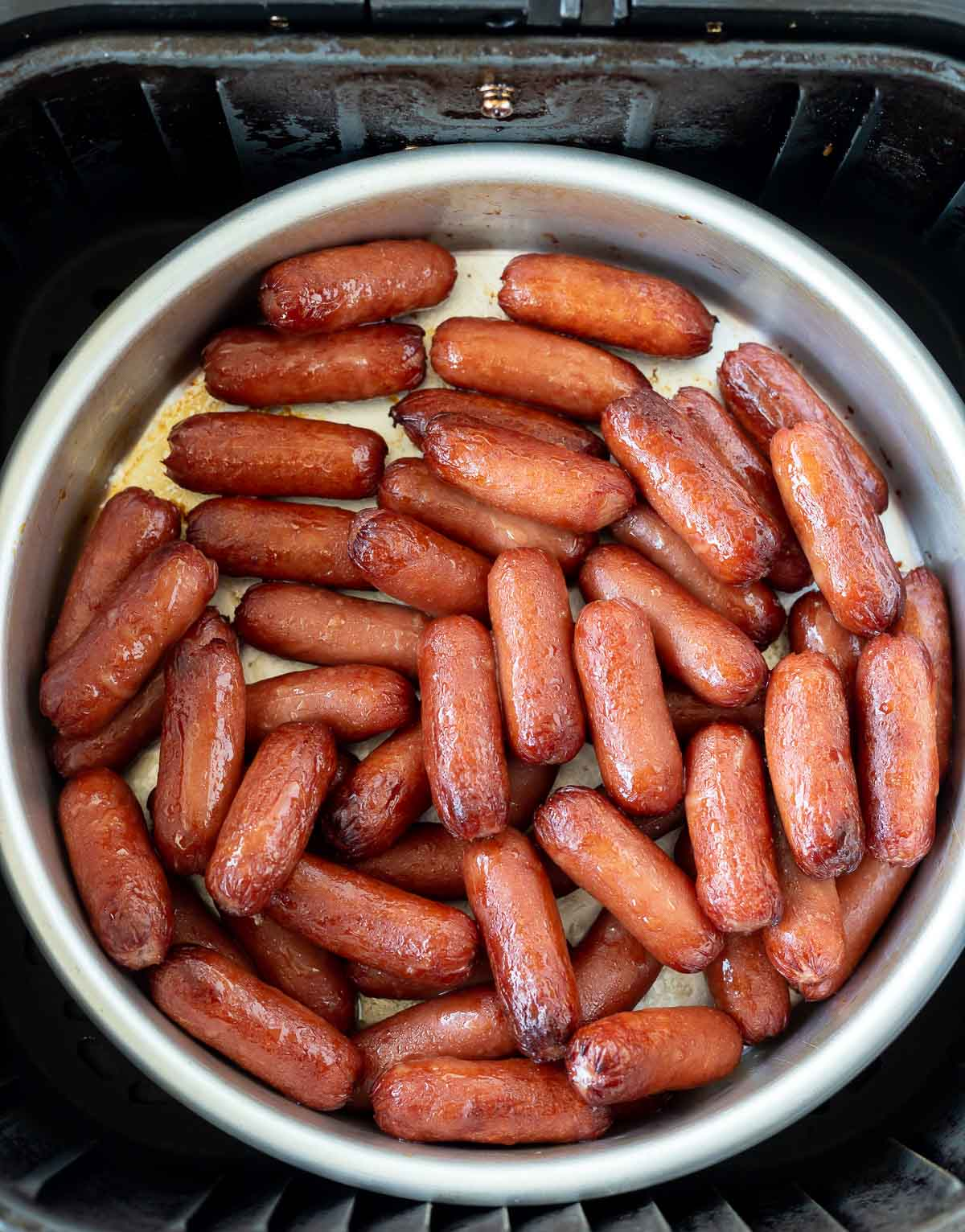 air fried lil smokies in air fryer pan without sauce