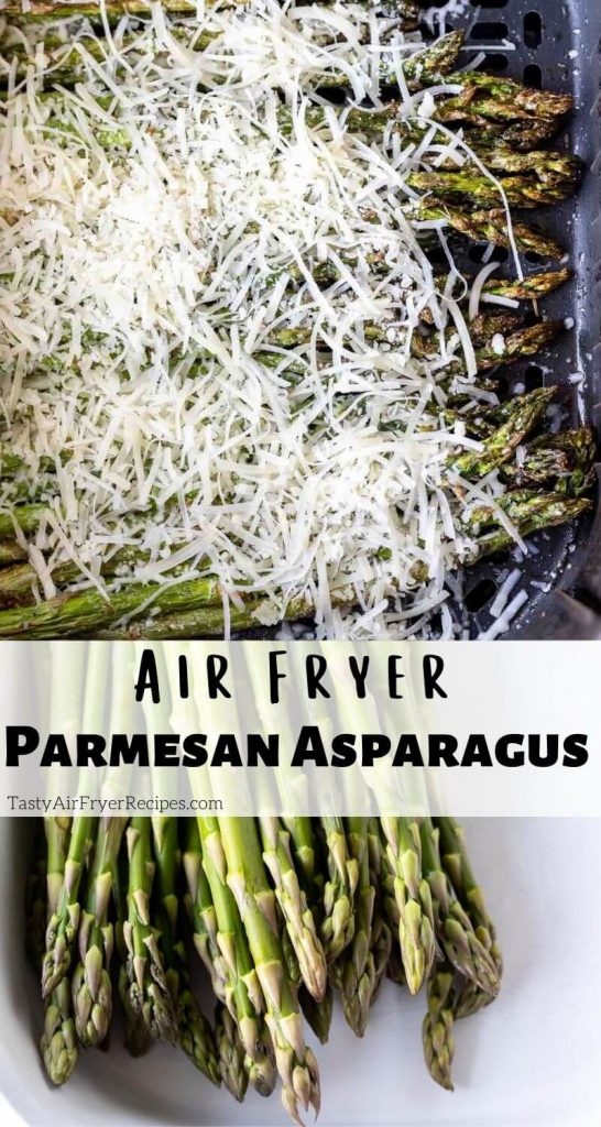 air fryer parmesan asparagus recipe pinnable image with title text