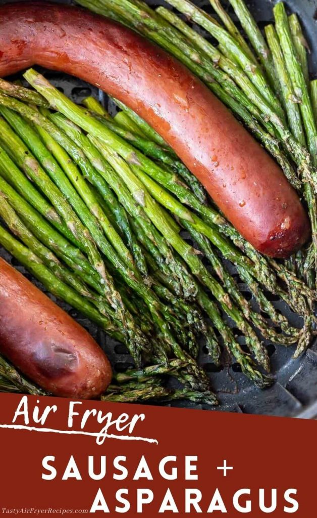 air fryer sausage and asparagus pinnable image with title text