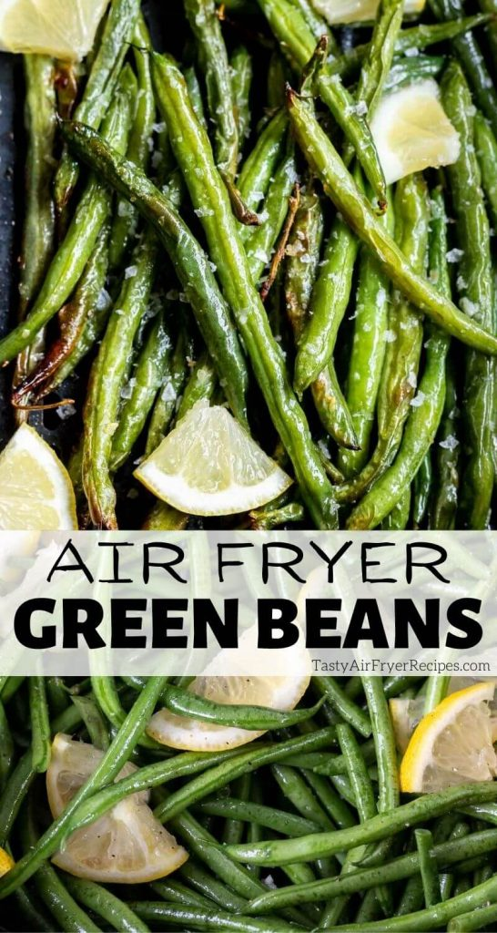 air fryer green beans pinnable image with title text