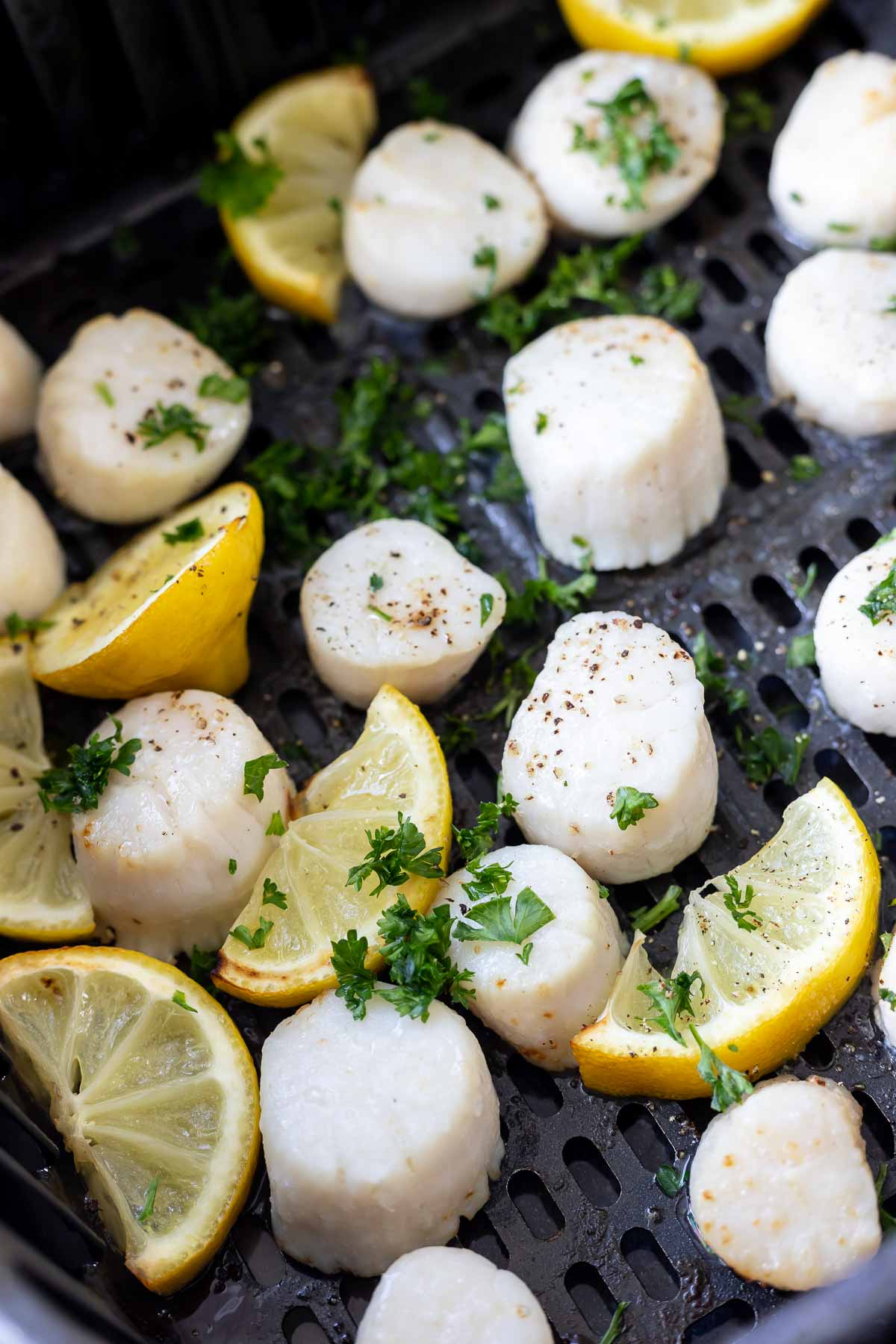 cooked scallops and lemons in air fryer basket