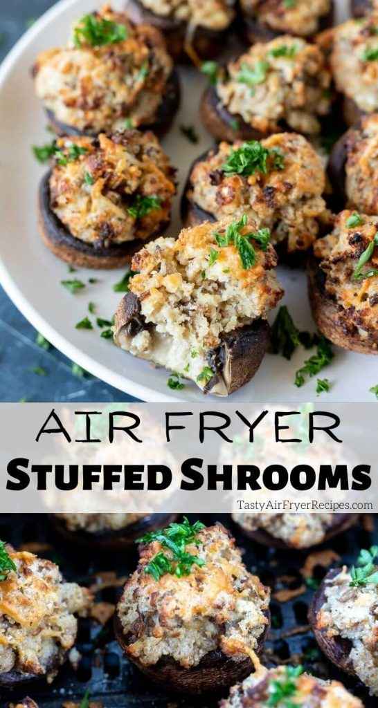 air fryer stuffed mushrooms pinnable image with title text