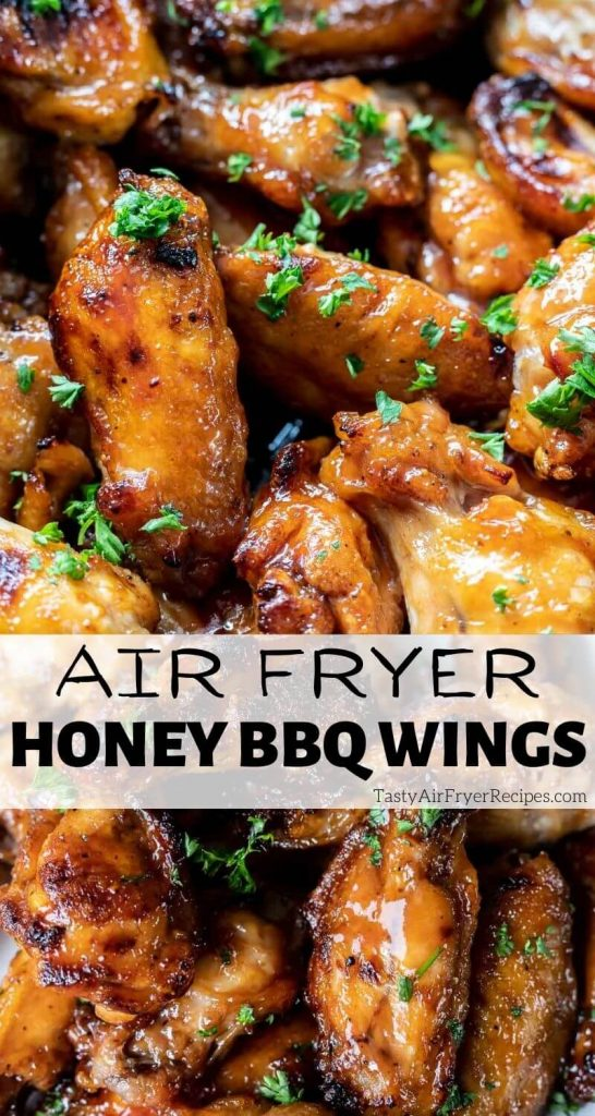air fryer honey bbq wings pinnable image with title text